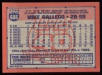 1991 Topps #686  Mike Gallego  Back Thumbnail