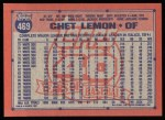 1991 Topps #469  Chet Lemon  Back Thumbnail
