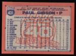 1991 Topps #431  Paul Gibson  Back Thumbnail