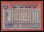 1991 Topps #425  Andy Van Slyke  Back Thumbnail