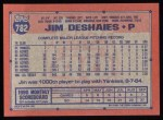 1991 Topps #782  Jim Deshaies  Back Thumbnail