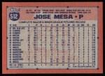 1991 Topps #512  Jose Mesa  Back Thumbnail