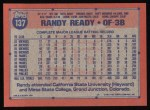 1991 Topps #137  Randy Ready  Back Thumbnail
