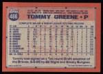 1991 Topps #486  Tommy Greene  Back Thumbnail