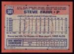 1991 Topps #301  Steve Farr  Back Thumbnail
