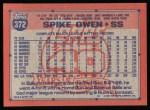 1991 Topps #372  Spike Owen  Back Thumbnail