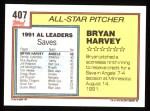 1992 Topps #407   -  Bryan Harvey All-Star Back Thumbnail