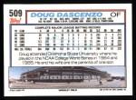 1992 Topps #509  Doug Dascenzo  Back Thumbnail