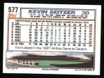 1992 Topps #577  Kevin Seitzer  Back Thumbnail