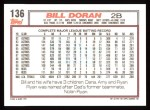 1992 Topps #136  Bill Doran  Back Thumbnail