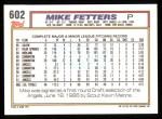1992 Topps #602  Mike Fetters  Back Thumbnail