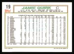 1992 Topps #19  Jamie Quirk  Back Thumbnail