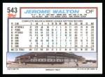 1992 Topps #543  Jerome Walton  Back Thumbnail