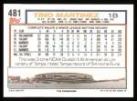 1992 Topps #481  Tino Martinez  Back Thumbnail