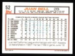1992 Topps #52  Juan Bell  Back Thumbnail