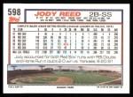 1992 Topps #598  Jody Reed  Back Thumbnail
