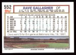 1992 Topps #552  Dave Gallagher  Back Thumbnail