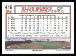 1992 Topps #416  Ellis Burks  Back Thumbnail