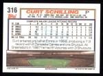 1992 Topps #316  Curt Schilling  Back Thumbnail