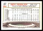 1992 Topps #47  Rex Hudler  Back Thumbnail