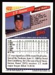 1993 Topps #422  J.T. Snow  Back Thumbnail