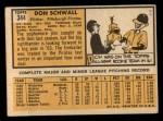 1963 Topps #344  Don Schwall  Back Thumbnail