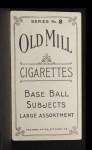 1910 T210-8 Old Mill Southern League  Vinson  Back Thumbnail
