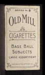 1910 T210-8 Old Mill Southern League  Bronkie  Back Thumbnail
