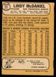 1968 Topps #545  Lindy McDaniel  Back Thumbnail