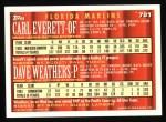 1994 Topps #781  Carl Everett  /  Dave Weathers  Back Thumbnail