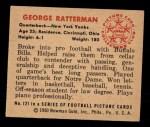 1950 Bowman #121  George Ratterman  Back Thumbnail