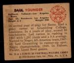 1950 Bowman #15  Tank Younger  Back Thumbnail
