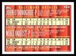 1994 Topps #763  John O'Donoghue  /  Mark Oquist  Back Thumbnail