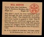 1950 Bowman #67  Bill Austin  Back Thumbnail