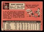 1969 Topps #509  Manny Sanguillen  Back Thumbnail