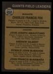 1973 Topps #252 BRN  -  Charlie Fox / Joe Amalfitano / Andy Gilbert / Don McMahon / John McNamara Giants Leaders Back Thumbnail