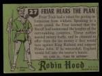 1957 Topps Robin Hood #27   Friar Hears The Plan Back Thumbnail