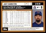 2002 Topps #259  Joey Hamilton  Back Thumbnail