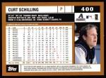 2002 Topps #400  Curt Schilling  Back Thumbnail