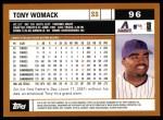 2002 Topps #96  Tony Womack  Back Thumbnail