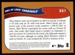 2002 Topps #667   St. Louis Cardinals Back Thumbnail