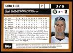 2002 Topps #376  Cory Lidle  Back Thumbnail
