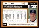 2002 Topps #538  Brent Butler  Back Thumbnail