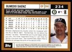 2002 Topps #234  Olmedo Saenz  Back Thumbnail