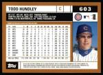 2002 Topps #603  Todd Hundley  Back Thumbnail