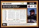 2002 Topps #625  Mo Vaughn  Back Thumbnail