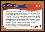 2002 Topps #651   Detroit Tigers Back Thumbnail