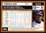 2002 Topps #215  Terrence Long  Back Thumbnail