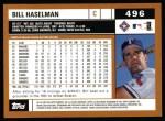 2002 Topps #496  Bill Haselman  Back Thumbnail