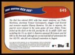 2002 Topps #645   Boston Red Sox Back Thumbnail